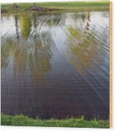 Grass On Both Sides With Water Between Wood Print