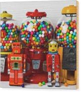Bots And Bubblegum Machines Wood Print