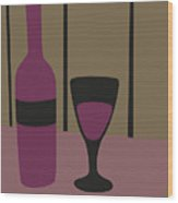 Bottle And Glass Of Wine Wood Print