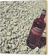 Bottle And The Beach  Wood Print