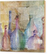 Bottle Collage Wood Print