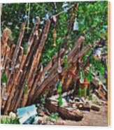Bottle Fence In Golden New Mexico Wood Print