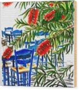 Bottlebrush And Blue Wood Print