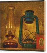 Bottles And Lamps Wood Print by Evelina Kremsdorf
