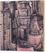 Bottles In Red Wood Print