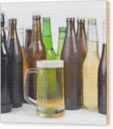 Bottles Of Beer And Beer Mug.  Wood Print