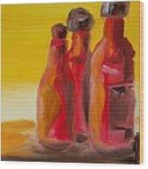 Bottles Of Hot Sauce Wood Print by Steve Jorde
