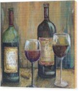 Bottles Of Red Wood Print
