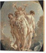 Boucher: Three Graces, 18 C Wood Print