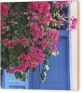 Bougainvillea And Blue Wood Print