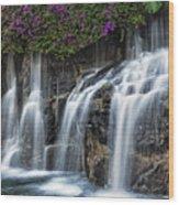 Bougainvillea Blooms Above Wailea Falls.  Wood Print