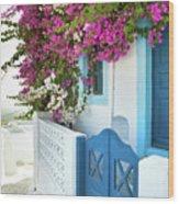 Bougainvillea In Santorini Island Wood Print