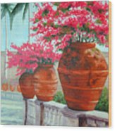 Bougainvillea Pots Wood Print