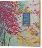 Bouganvilla And Blue Shutter Wood Print