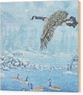 Boulder Bay Geese Wood Print