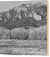 Boulder Colorado Flatiron View From Jay Rd Bw Wood Print