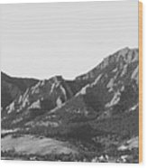 Boulder Colorado Flatirons And Cu Campus Panorama Bw Wood Print