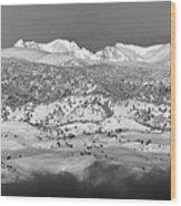 Boulder County Continental Divide Panorama Bw Wood Print