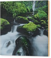 Boulder Elowah Falls Columbia River Gorge Nsa Oregon Wood Print