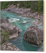 Boulder In The River - Slovenia Wood Print