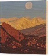 Boulder Moonrise Wood Print
