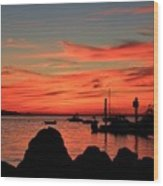 Rock Sunset Silhouette Wood Print
