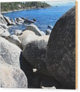 Boulders On Lake Tahoe Wood Print
