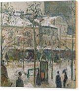 Boulevard De Rocheouart In Snow Wood Print