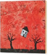 Bouncing House Fiery Sky Wood Print