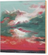 Bound Of Glory 2 - Square Sunset Painting Wood Print