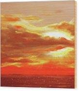 Bound Of Glory - Red Panoramic Sunset  Wood Print
