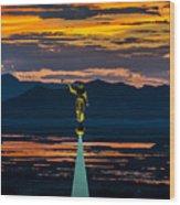 Bountiful Sunset - Moroni Statue - Utah Wood Print