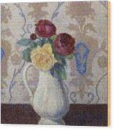 Bouquet De Roses Dans Un Vase 1885 Wood Print