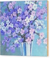 Bouquet In Silver Vase Wood Print