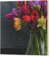 Spring Flowers In Vase Wood Print