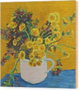 Bouquet Of Dandelions And Wild Flowers Wood Print