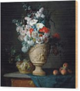 Bouquet Of Flowers In A Terracotta Vase With Peaches And Grapes Wood Print