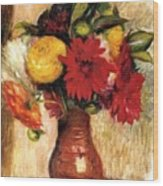 Bouquet Of Flowers In An Earthenware Pitcher Wood Print