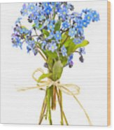 Bouquet Of Forget-me-nots Wood Print