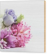 Bouquet Of Fresh Flowers Isolated On White Wood Print
