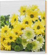 Bouquet Of Fresh Spring Flowers Isolated On White Wood Print