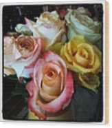 Bouquet Of Mature Roses At The Counter Wood Print