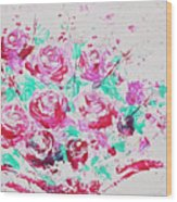 Bouquet Of Pink Roses Wood Print