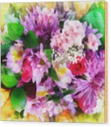 Bouquet Of Purple Wood Print