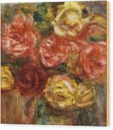 Bouquet Of Roses In A Vase 1900 Wood Print