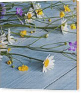 Bouquet Of Wild Flowers On A Wooden Wood Print