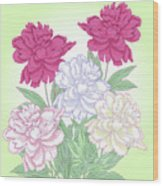 Bouquet With White And Pink Peonies.spring Wood Print