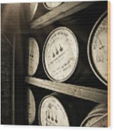 Bourbon Barrels by Window Light Wood Print
