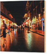 Bourbon Street At Dusk Wood Print