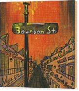 Bourbon Street Lamp Post Wood Print